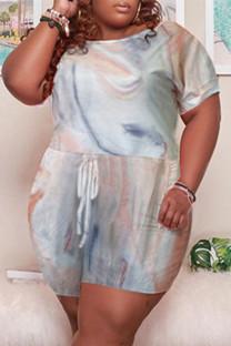 Gray White Fashion Casual Print Basic O Neck Plus Size Jumpsuits