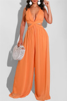Orange Sexy Casual Solid Backless V Neck Regular Jumpsuits