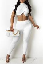 White Fashion Casual Solid Asymmetrical Half A Turtleneck Short Sleeve Two Pieces