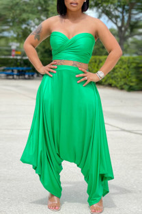 Green Casual Solid Bandage Split Joint Backless Strapless Sleeveless Two Pieces