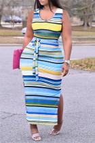 Blue Fashion Casual Plus Size Striped Print Slit U Neck Vest Dress