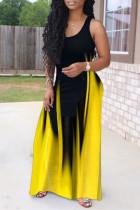 Yellow Fashion Sexy Print Basic O Neck Vest Dress