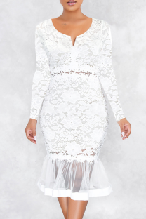 White Sexy Solid Hollowed Out V Neck Cake Skirt Dresses