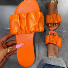 Tangerine Red Casual Street Split Joint Fold Opend Out Door Shoes