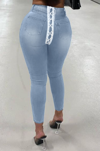 Light Blue Street Solid Draw String Plus Size Jeans