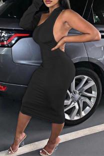 Black Fashion Sexy Solid Backless Oblique Collar Irregular Dress Dresses