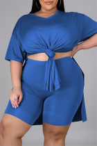 Blue Fashion Casual Solid Slit V Neck Tops Plus Size Two-piece Set