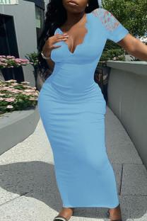 Sky Blue Fashion Solid Split Joint V Neck Short Sleeve Dress