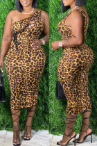Leopard Print Fashion Sexy Plus Size Print Bandage Hollowed Out One Shoulder Sleeveless Dress