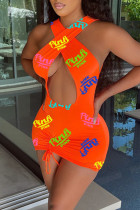 Orange Fashion Sexy Letter Print Hollowed Out Backless V Neck Sleeveless Dress