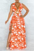 Orange Fashion Sexy Print Split Joint Slit V Neck Sleeveless Dress