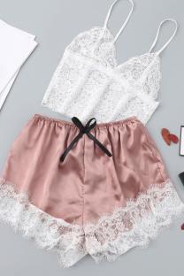 White Sexy Fashion Lace Suspender Pajamas