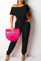 Black Casual Solid Split Joint Frenulum O Neck Straight Jumpsuits