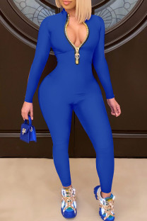 Colorful Blue Casual Solid Split Joint Zipper Collar Skinny Jumpsuits