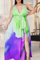Purple Green Casual Tie Dye Split Joint Frenulum V Neck Sling Dress Plus Size Dresses
