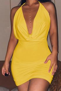 Yellow Celebrities Solid Split Joint Frenulum Backless Halter Pencil Skirt Dresses