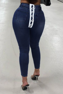 Deep Blue Street Solid Draw String Plus Size Jeans