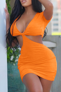 Tangerine Red Sexy Solid Hollowed Out V Neck Pencil Skirt Dresses