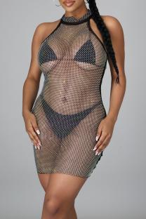 Black Sexy Solid Mesh Half A Turtleneck Pencil Skirt Dresses