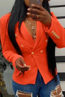 Orange Fashion Casual Solid Buckle Turndown Collar Outerwear
