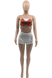 White Sexy Butterfly Print Split Joint Strapless Sleeveless Two Pieces