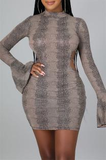 Khaki Fashion Sexy Print Bandage Backless Half A Turtleneck Long Sleeve Dresses