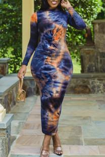 Dark Blue Elegant Print Tie Dye Split Joint O Neck Long Sleeve Dresses