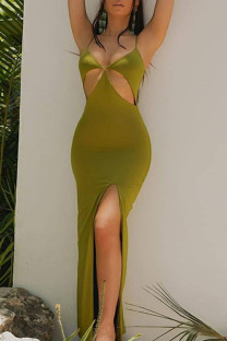 Green Sexy Solid Hollowed Out Split Joint Slit Spaghetti Strap Sling Dress Dresses
