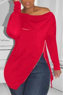 Red Casual Solid Split Joint Asymmetrical Zipper Zipper Collar Tops
