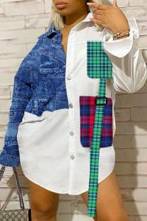 White Casual Plaid Split Joint Pocket Shirt Collar Shirt Dress Plus Size Tops