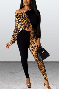Black Casual Print Leopard Split Joint O Neck Long Sleeve Two Pieces