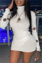White Fashion Sexy Solid Hollowed Out Turtleneck Long Sleeve Dresses