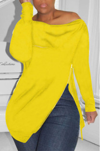 Yellow Casual Solid Split Joint Asymmetrical Zipper Zipper Collar Tops