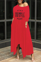 Red Casual Letter Print Basic Oblique Collar Irregular Dress