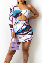 White Elegant Print Hollowed Out Split Joint Asymmetrical Asymmetrical Collar Pencil Skirt Dresses