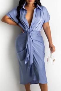 Sky Blue Casual Solid Split Joint Turndown Collar Shirt Dress Dresses