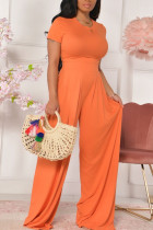 Tangerine Casual Solid Split Joint O Neck Short Sleeve Two Pieces