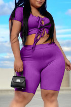 Purple Fashion Casual Solid Bandage Hollowed Out O Neck Plus Size Two Pieces