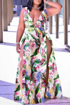 Multicolor Fashion Casual Print Slit V Neck Sleeveless Dress
