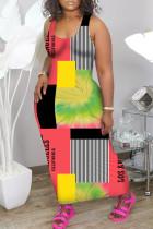 Red Fashion Casual Plus Size Print Basic U Neck Vest Dress