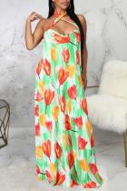 Green Sexy Print Split Joint Spaghetti Strap Printed Dress Dresses