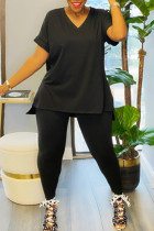 Black Casual Solid Split Joint V Neck Plus Size Two Pieces