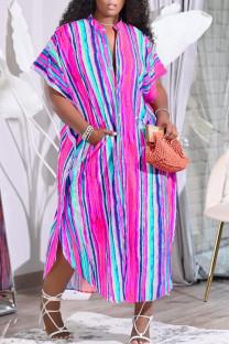 Rose Purple Casual Striped Print Split Joint Buckle Mandarin Collar Shirt Dress Dresses