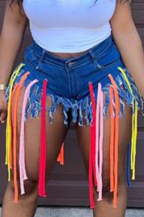 Blue Casual Solid Tassel Mid Waist Skinny Denim Shorts