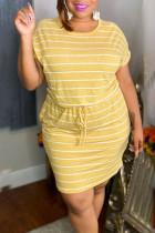 Yellow Casual Striped Print Split Joint Frenulum O Neck Short Sleeve Dress Plus Size Dresses
