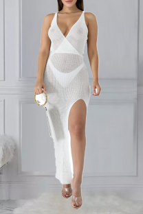 White Sexy Solid Split Joint Spaghetti Strap Irregular Dress Dresses