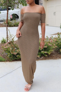 Brown Sexy Casual Striped Print Backless Off the Shoulder Short Sleeve Dress Dresses
