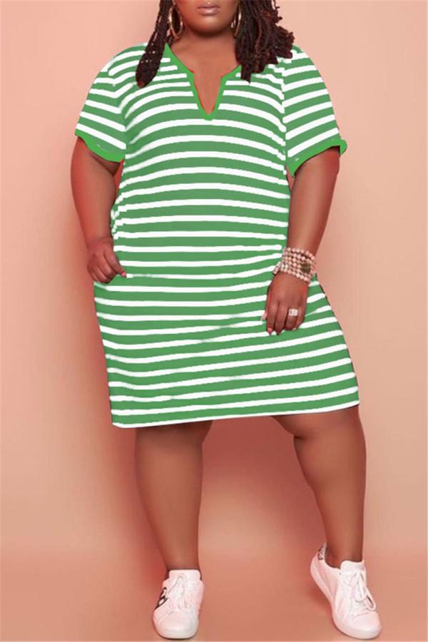 Green Fashion Casual Plus Size Striped Print Basic V Neck Short Sleeve Dress