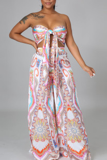 White Sexy Print Bandage Split Joint Knotted Strapless Sleeveless Two Pieces