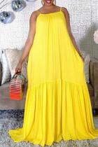 Yellow Sexy Casual Dot Print Without Belt Spaghetti Strap Sleeveless Dress
